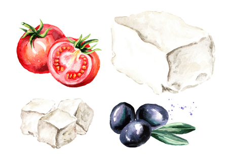 Greek feta cheese block anb cubes, olives and tomatoes. Watercolor hand drawn illustration, isolated on white background