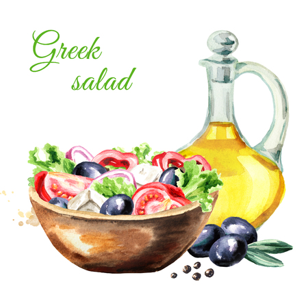 Greek salad with fresh vegetables, feta cheese and olive oil. Watercolor hand drawn illustration, isolated on white background Stock Photo
