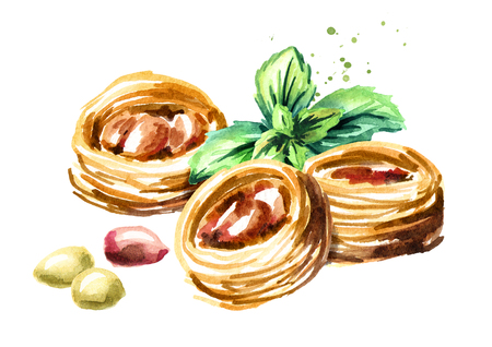 Baklava with mint leaves. Watercolor hand drawn illustration, isolated on white background