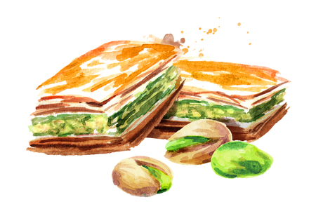 Baklava with pistachios. Watercolor hand drawn illustration, isolated on white background