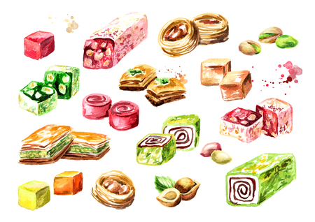 Turkish delights set. Watercolor hand drawn illustration, isolated on white background 免版税图像