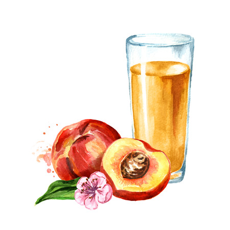 Glass of peach juice. Watercolor hand drawn illustration, isolated on white background Stock Photo