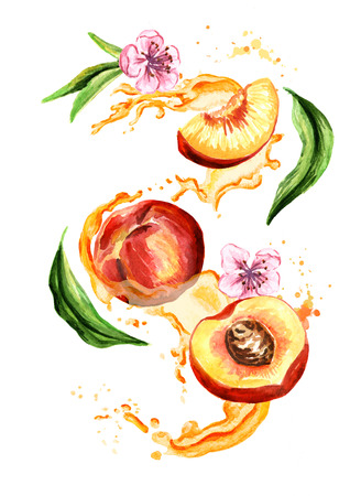 Juice splash with peach fruits, leaves and flowers. Watercolor hand drawn illustration, isolated on white background Stock Photo