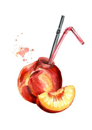 Natural organic peach juice. Watercolor hand drawn illustration, isolated on white background