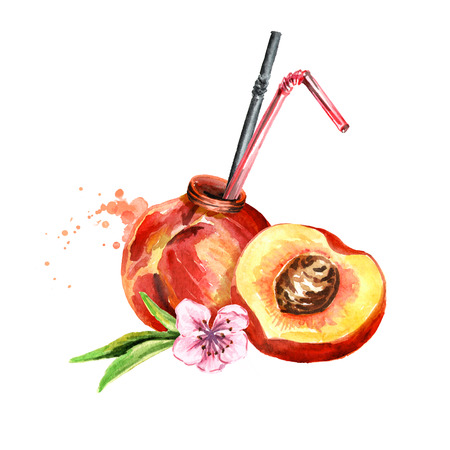 Natural peach juice. Watercolor hand drawn illustration, isolated on white background