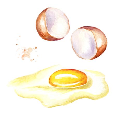 Gebrochenes Ei . Aquarell Hand gezeichnet isoliert auf weißem Hintergrund Illustration Standard-Bild - 99613498