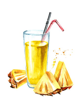 Glass of pineapple Juice with fresh pineapple slices. Watercolor hand drawn illustration, isolated on white background