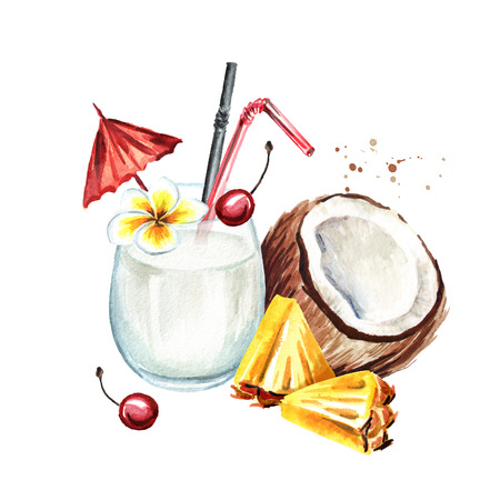 Pina colada cocktail. Watercolor hand drawn illustration,  isolated on white background Stock Photo