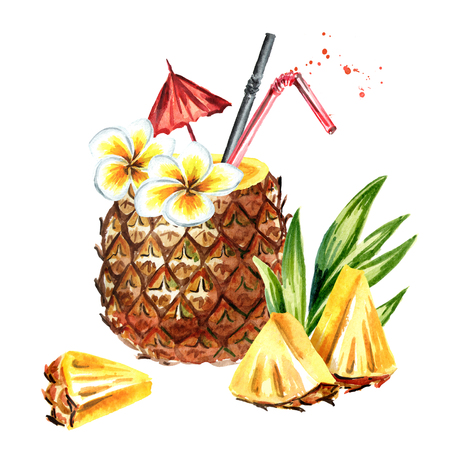 Pineapple cocktail with pineapple slices. Watercolor hand drawn illustration  isolated on white background