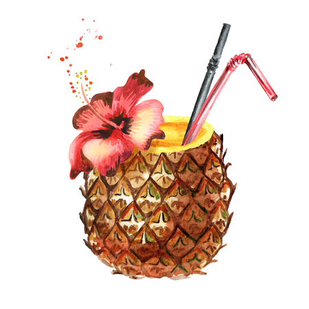 Pineapple cocktail. Watercolor hand drawn illustration  isolated on white background