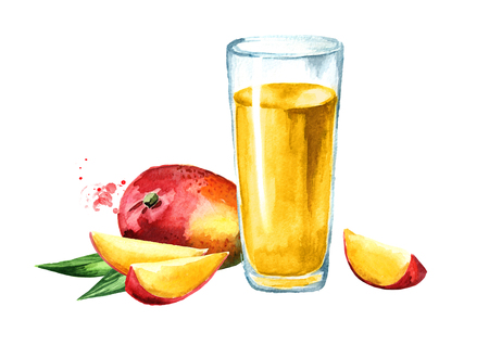 Glass of mango Juice with fresh fruits. Watercolor hand drawn illustration, isolated on white background Stok Fotoğraf