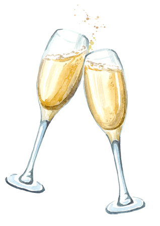 Two glasses of champagne in toasting. Watercolor hand drawn illustration  isolated on white background
