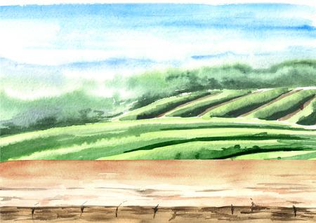 Wood floor on tea plantation. Hand drawn watercolor illustration. Tea background