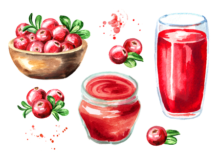 Cranberry juice, jam, marmalade and fresh ripe berries with leaves. Hand drawn watercolor illustration, isolated on white background Stock Photo
