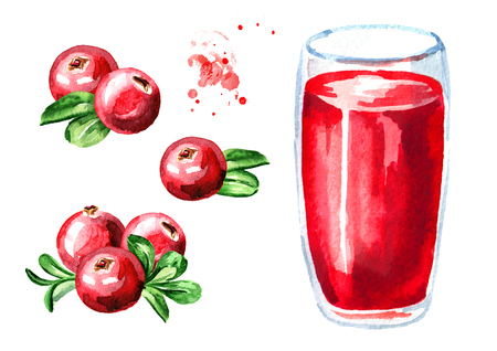 Glass of cranberry Juice and fresh ripe berries set. Watercolor hand drawn illustration, isolated on white background