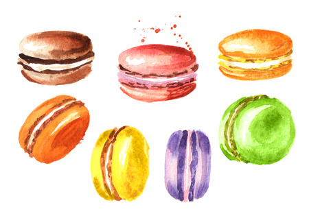 Traditional french Cake macaron or macaroon, colorful almond cookies set. Watercolor hand drawn illustration, isolated on white background
