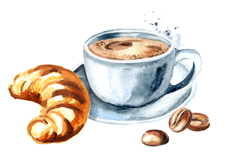 Cup of morning coffee and coffee beans. Watercolor hand drawn illustration, isolated on white background