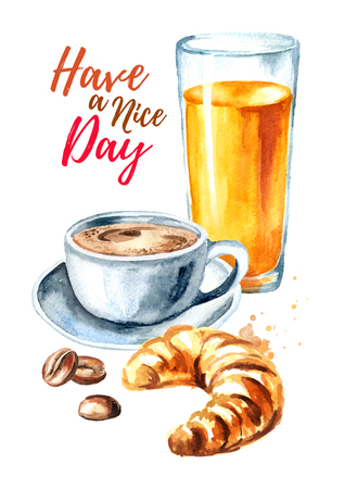 Good morning card. Traditional french morning breakfast. Croissant, orange juice, cup of coffee, coffee beans. Watercolor hand drawn illustration, isolated on white background