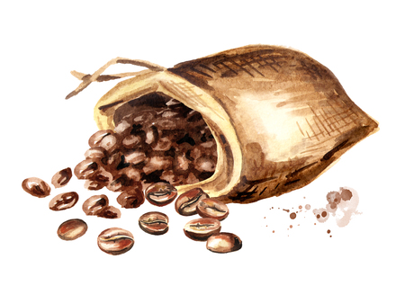 Sack of  coffee beans. Watercolor hand drawn illustration, isolated on white background