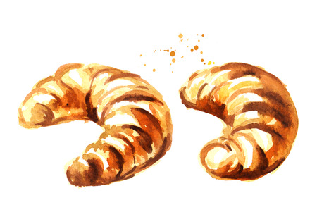 Traditional french croissant set, morning bakery. Watercolor hand drawn illustration, isolated on white background Stock Photo