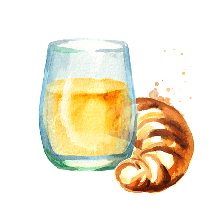 Traditional french croissant with glass of orange juice, morning bakery. Watercolor hand drawn illustration, isolated on white background Stock Photo