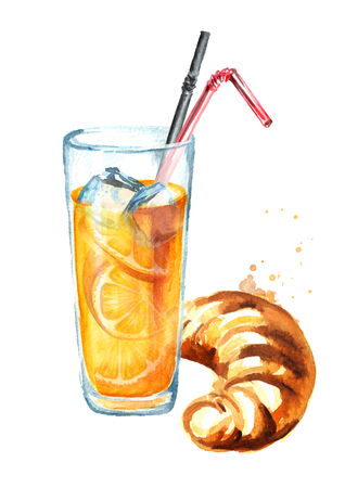 Traditional french croissant with orange juice, morning bakery. Watercolor hand drawn illustration, isolated on white background