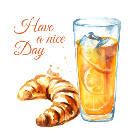Traditional french croissant with orange juice. Watercolor hand drawn illustration, isolated on white background