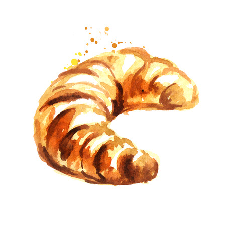 Traditional french croissant, morning bakery. Watercolor hand drawn illustration, isolated on white background Stock Photo