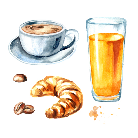 Traditional french morning breakfast set. Croissant, orange juice, cup of coffee, coffee beans. Watercolor hand drawn illustration, isolated on white background