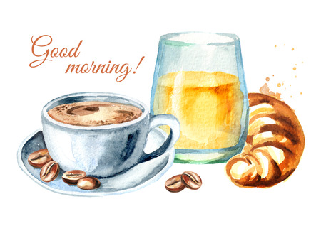 Traditional french morning breakfast. Croissant, orange juice, cup of coffee, coffee beans. Good morning card. Watercolor hand drawn illustration, isolated on white background Фото со стока