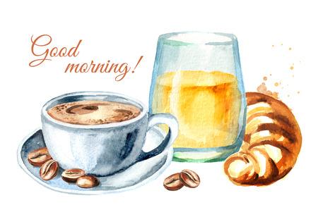 Traditioneel Frans ochtendontbijt. Croissant, sinaasappelsap, kopje koffie, koffiebonen. Goedemorgen kaart. Aquarel hand getrokken illustratie, geïsoleerd op een witte achtergrond