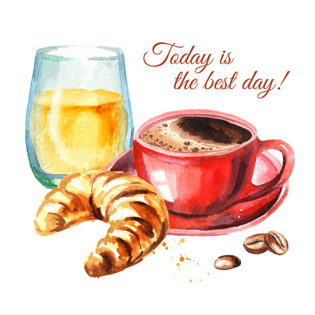 Traditional french morning breakfast. Croissant, orange juice, cup of coffee, coffee beans. Watercolor hand drawn illustration, isolated on white background Stock Illustration - 102797893
