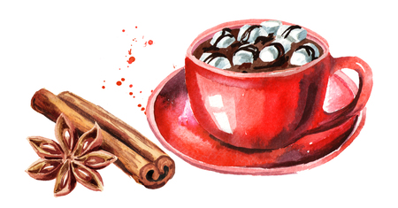 Red Cup of hot chocolate with marshmallow, cinnamon stick and star anise. Watercolor hand drawn illustration isolated on white background Stock Photo