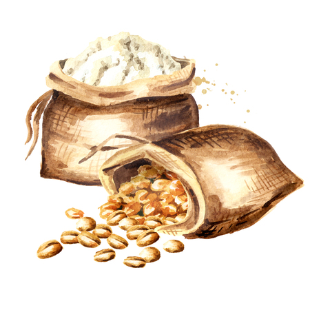 Sacks with grain and flour. Watercolor hand drawn illustration, isolated on white background 写真素材