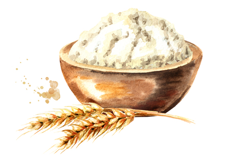 Wheat ear and bowl with flour. Watercolor hand drawn illustration, isolated on white background Foto de archivo