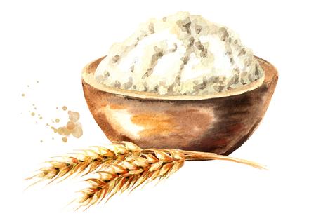 Pi de blé et bol avec de la farine. Illustration aquarelle dessinée à la main, isolée sur fond blanc Banque d'images - 103840027
