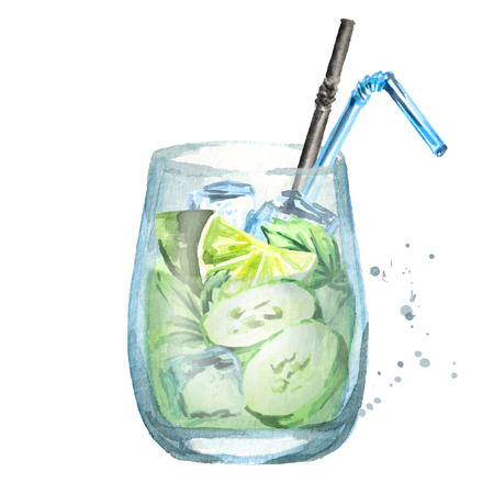 Glass of  Cucumber Mint Cooler. Watercolor hand drawn illustration  isolated on white background