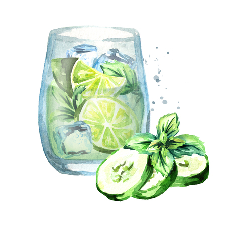 Glass of Cucumber Mint Cooler. Watercolor hand drawn illustration, isolated on white background