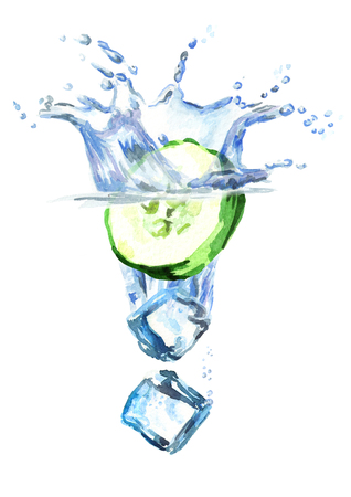 Ice cubes and cucumber falling into water, hand drawn illustration isolated on white background
