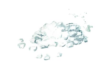 Sea salt. Hand drawn watercolor illustration, isolated on white background 版權商用圖片
