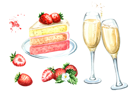 Birthday or wedding set. Strawberry cake with champagne glasses. Watercolor hand drawn illustration, isolated on white background