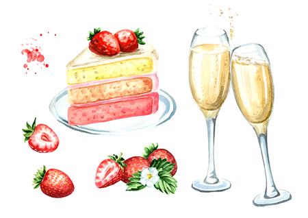 Geburtstags- oder Hochzeitsset. Erdbeerkuchen mit Champagnergläsern. Aquarellhand gezeichnete Illustration, lokalisiert auf weißem Hintergrund Standard-Bild