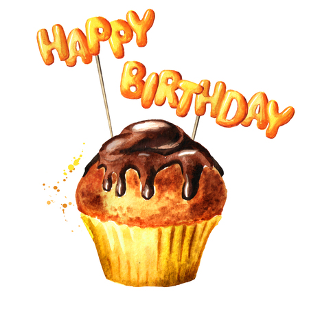 Brownie cake with Happy Birthday lettering on a sticks. Watercolor hand drawn illustration, isolated on white background