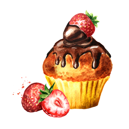 Brownie cake with Strawberry. Watercolor hand drawn illustration, isolated on white background