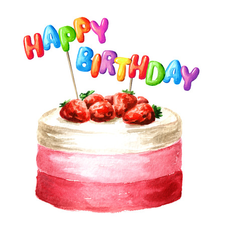 Cake with Happy Birthday lettering on a sticks. Watercolor hand drawn illustration, isolated on white background