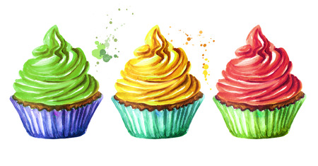 Cakes set. Watercolor hand drawn illustration, isolated on white background