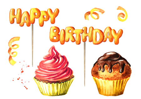 Happy Birthday lettering on a stick, cake and brownie. Watercolor hand drawn illustration, isolated on white background Stock Photo