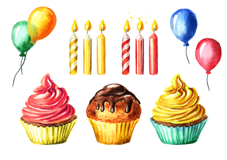 Happy Birthday set with cake, candle and balloon. Watercolor hand drawn illustration, isolated on white background