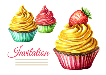 Invitation birthday or wedding card. Cake. Watercolor hand drawn illustration  isolated on white background