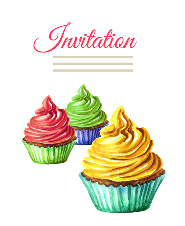 Invitation birthday or wedding card. Cake. Watercolor hand drawn illustration,  isolated on white background Stock Photo